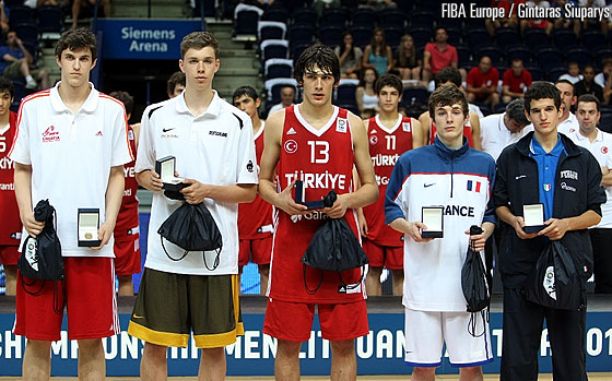 THe All Tournament Team with Marko Arapovic (Croatia), Jan Wimberg (Germany),  Okben Ulubay (Turkey) Etienne Ory (France) and Federico Mussini (Italy)
