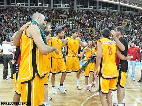 FYR of Macedonia celebrate qualification to EuroBasket 2009