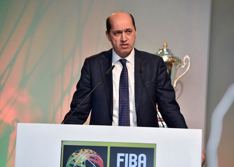 FIBA Europe President Turgay Demirel speaking at the draw ceremony in Freising on 22 January 2016