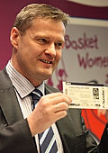 Olafur Rafnsson holding EuroBasket Women 2011 ticket
