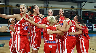 Croatia celebrate their Semi-Final win over Serbia