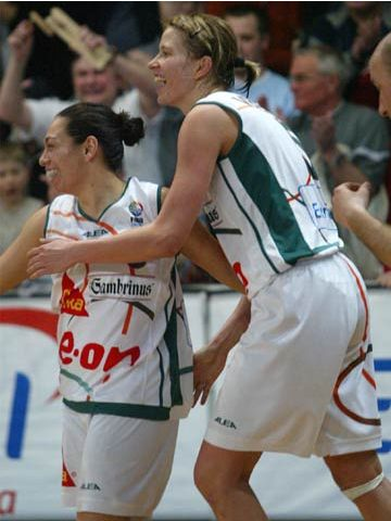 Brno's Alicia Poto and Jana Vecerova celebrate victory over Lotos Gdynia