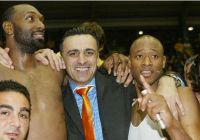 Michael McDonald (left), Dragan Raca (center) and Duane Woodward celebrate Lemesos second consecutive Cypriot league title