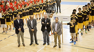 FIBA Europe Commissioner Eddie McKinley,  Andorran Basketball Federation President Manuel Fernández, FIBA President Yvan Mainini and Secretary General for Sports of the Andorran Government, Jordi Cerqueda