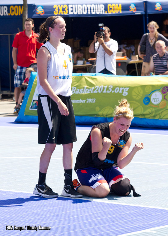 Rubik Squad Ladies (GER) player celebrating her game winning shot during group stage games on Friday