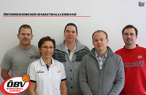 The staff of the Austrian Basketball Federation (in the front: Andrea Pospischil, Robert Langer; in the back: Matthias Hager, Katalin Levai, Ronald Bachtrögler)