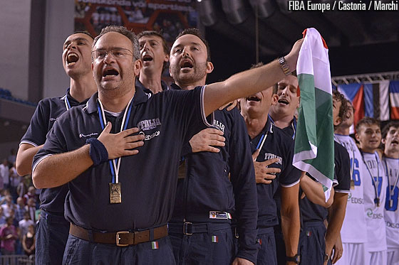 Italy head coach Stefano Sacripanti singing the Italian anthem
