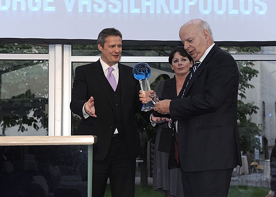 FIBA Europe President Olafur Rafnsson presents Honorary President George Vassilakopoulos with award at the FIBA Europe 10th Anniversary official dinner