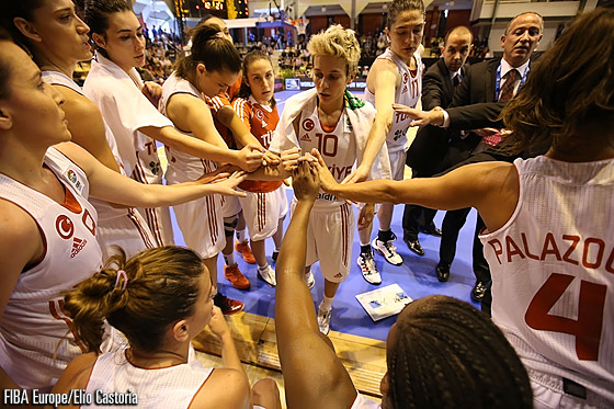Turkey huddle before their game with Montenegro
