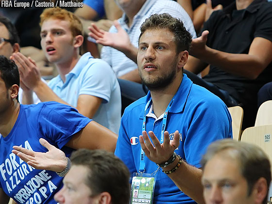 Italy's Stefano Mancinelli following his teammates from the stands