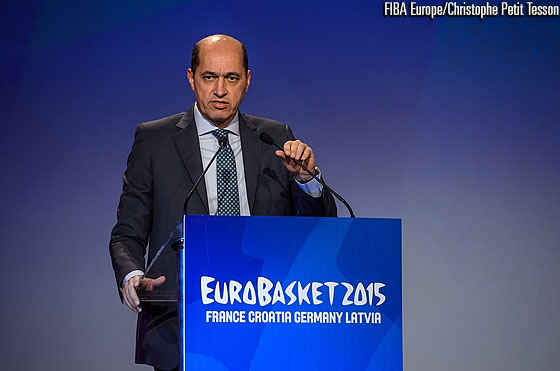 FIBA Europe President Turgay Demirel speaking at the EuroBasket 2015 Draw
