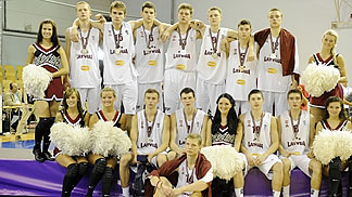 A dejected Latvia team after winning silver