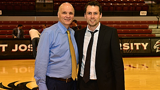 Pascal Meurs with Saint Josephs University head coach Phil Martelli