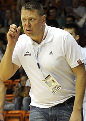 Latvia head coach Gints Fogels
