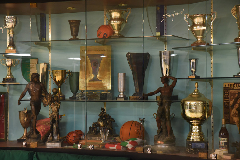 A section of ASVEL's brimming trophy case