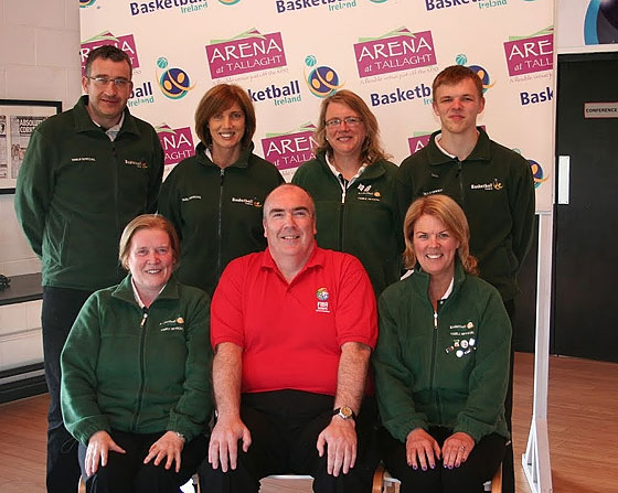FIBA Europe instructor Mark Patton and participants in the Basketball Ireland Table Officials Seminar