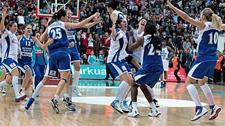 Dynamo Moscow celebrate after winning the EuroCup Women
