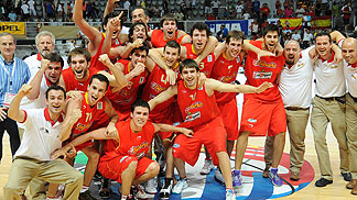 Spain celebrate their success in the bronze medal game
