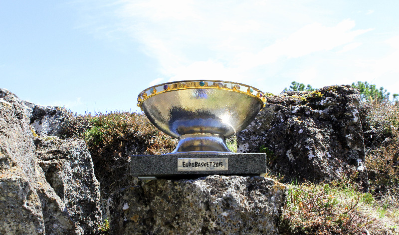 The EuroBasket 2015 trophy at Thingvellir National Park in Iceland