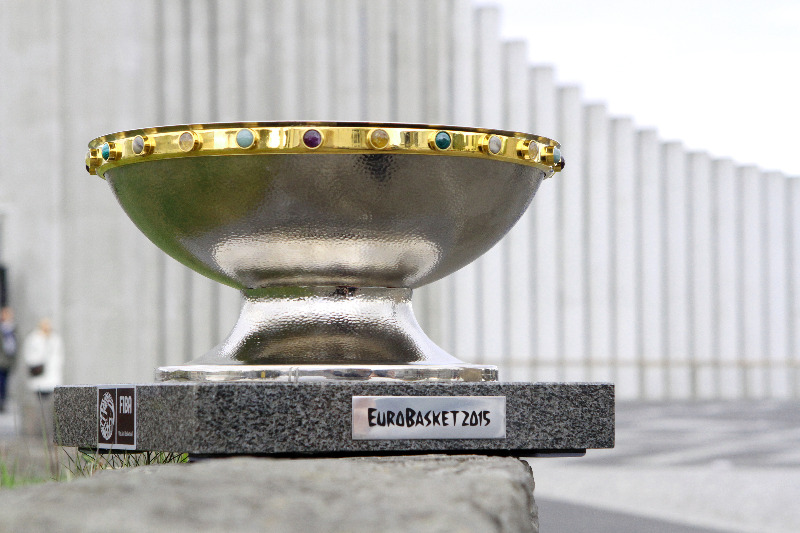 The EuroBasket 2015 trophy at Hallgrimskirkja Church in Reykjavik