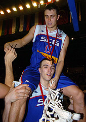 Ivan Paunic and Nikola Pekovic (Serbia & Montenegro) celebrate U20 gold