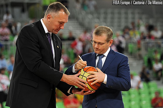 The Vice Prime Minister of Ukraine Oleksandr Vilkul signing the ball to be handed over to the EuroBasket 2015 organisers