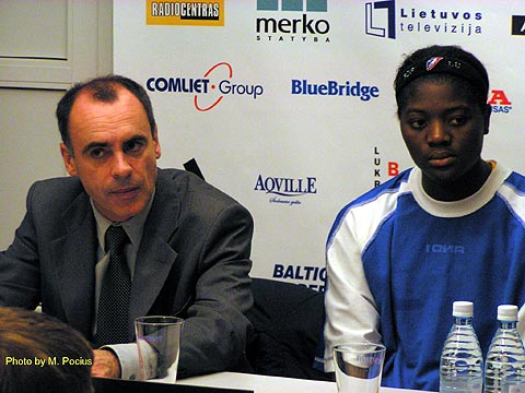 USVO coach Laurent Buffard and Lucienne Berthieu during the press conference