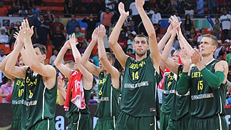 Lithuania celebrate their victory over hosts Venezuela
