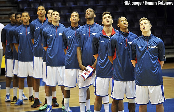 France line up before their game against Serbia