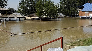 Flooded basketball court in Sremska Mitrovica
