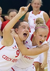 The Czech Republic celebrate their win over Hungary