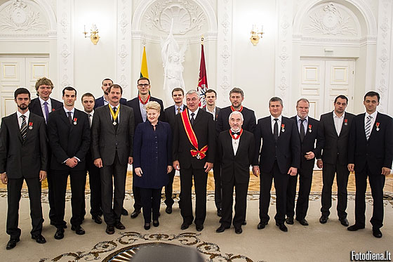 Lithuania President Dalia Grybauskaitė held an official reception for the silver medal-winning Lithuanian basketball team in her Presidential residence on Tuesday 23 September