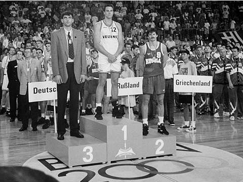 The medal podium at the 1993 European Championship, which was won by Germany