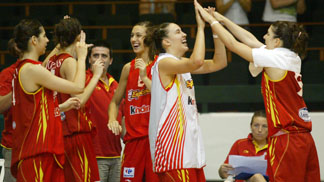 The Spanish team celebrating