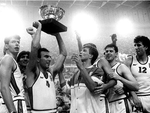 Nikos Galis and Greece celebrate victory at the 1987 European Championship for Men