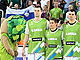 The Slovenian National Team during the anthem