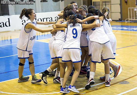 Andorra celebrate their final victory at the U18 European Championship Women Division C