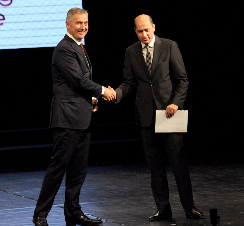L to R: Montenegro Prime Minister Basketball Federation President Milo Djukanovic and FIBA Europe President Turgay Demirel during the Montenegro Federation's 60th Anniversary celebrations
