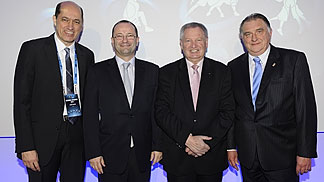 New FIBA Europe President Turgay Demirel with FIBA Secretary General Patrick Baumann, FIBA President Yvan Mainini and former FIBA Europe Acting President Cyriel Coomans