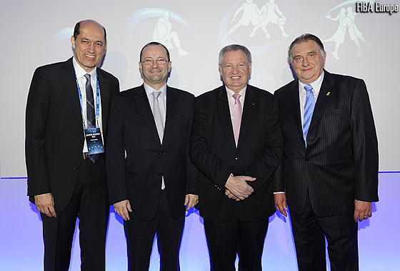 New FIBA Europe President Turgay Demirel with FIBA Secretary General Patrick Baumann, FIBA President Yvan Mainini and outgoing FIBA Europe Acting President Cyriel Coomans