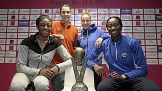 Nnemkadi Ogwumike (Dynamo Kursk), Alba Torrens (UMMC), Katerina Elhotova (ZVVZ USK Prague) and Tina Charles (Fenerbahce) pose with the EuroLeague Women trophy ahead of the 2015 Final Four