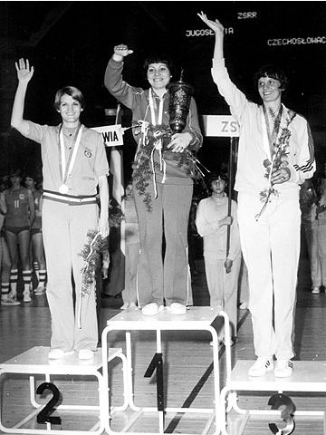 The medal podium at the 1978 European Championships for Women in Poland. USSR won the gold, Yugoslavia silver and Czechoslovakia bronze