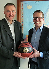 FIBA Europe Secretary General Kamil Novak and Spalding representative Stefan Schey