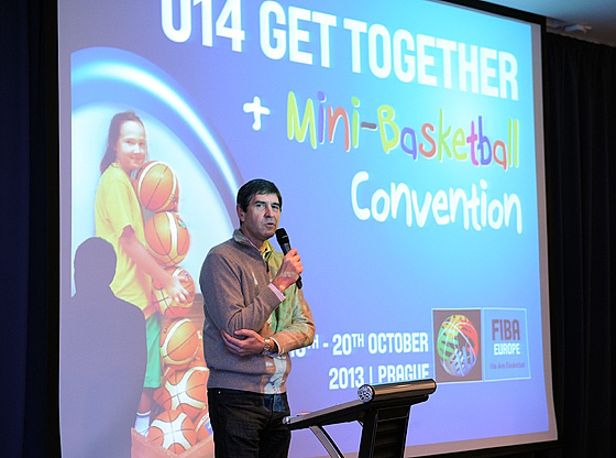 FIBA Europe Youth Commission President Asterios Zois speaking at the Mini Basketball Convention and U14 Get Together.