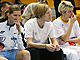 Injured Eva Viteckova, Jana Vesela and Jelena Dubljevic were forced to watch Prague's defeat from the sidelines