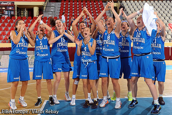 Italy celebrate their Semi-Final victory over Belgium