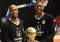 Fab Flournoy and Andrew Sullivan of the Newcastle Eagles with the 2006 BBL Championship trophy