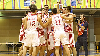 Croatia celebrate their qualification for the U18 European Championship quarter-finals