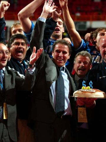 THE JUBILATION OF THE ITALIAN COACH CARLO RECALCATI.