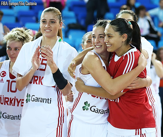 Turkey celebrate their quarter-final victory over Belarus